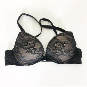 Victoria's Secret Black Floral Lace Push Up Bra
